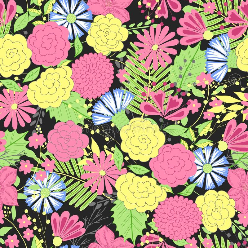 Vector flower pattern. Colorful seamless botanic texture, detailed flowers illustrations. Doodle style, spring floral stock illustration