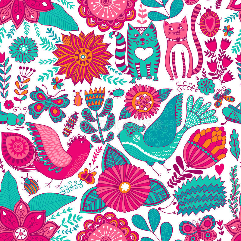 Vector flower pattern. Seamless botanic texture, detailed flowers illustrations. All elements are not cropped and hidden under mas vector illustration