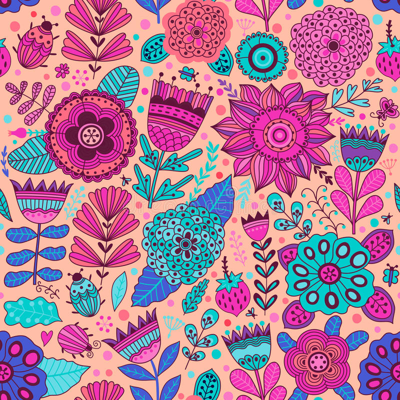 Vector flower pattern. Seamless botanic texture, detailed flowers illustrations. All elements are not cropped and hidden under mas stock illustration