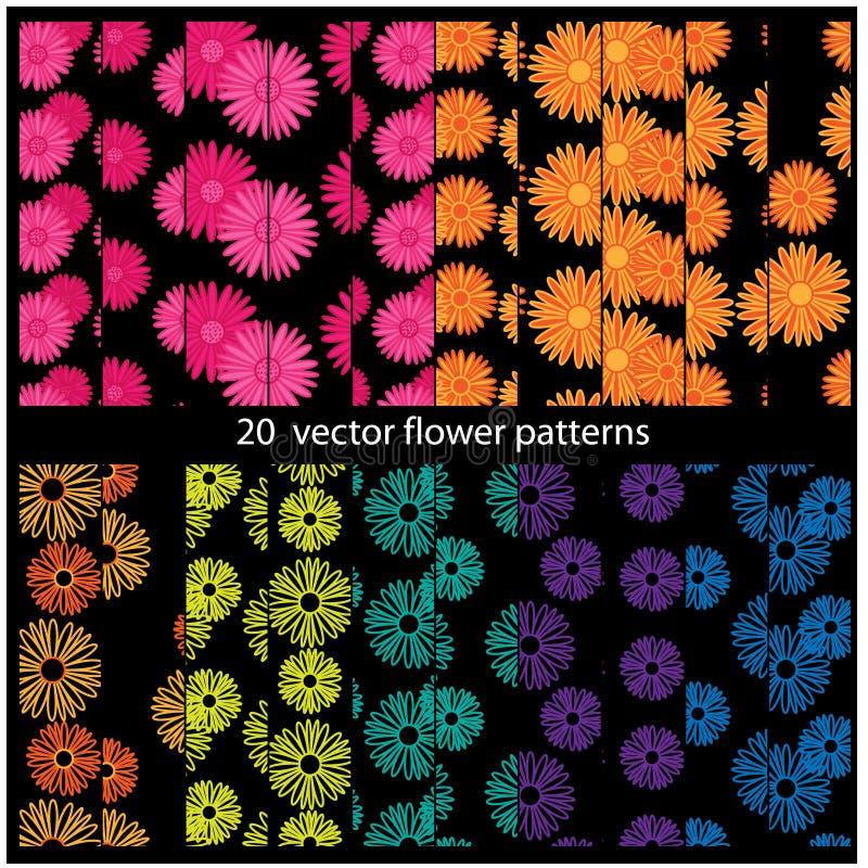 20 Vector flower patterns vector illustration