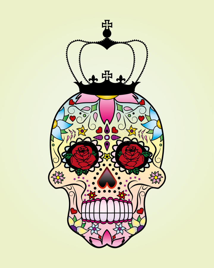 Vector flower skull with crown. royalty free illustration