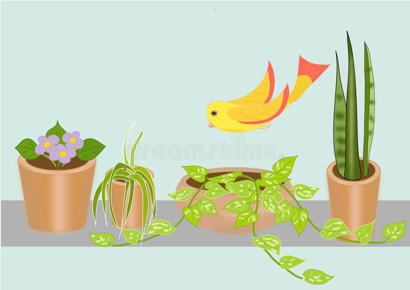 Vector flowers and a bird royalty free stock photos