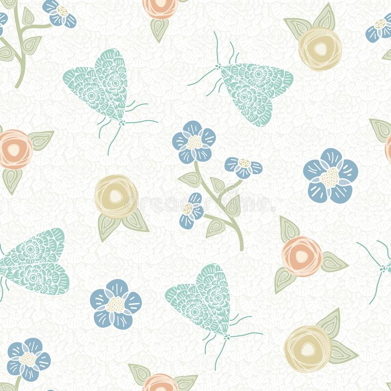 Vector Flowers in Blue Gold Orange with Green Leaves and Butterflies on White Background Seamless Repeat Deseń ilustracji