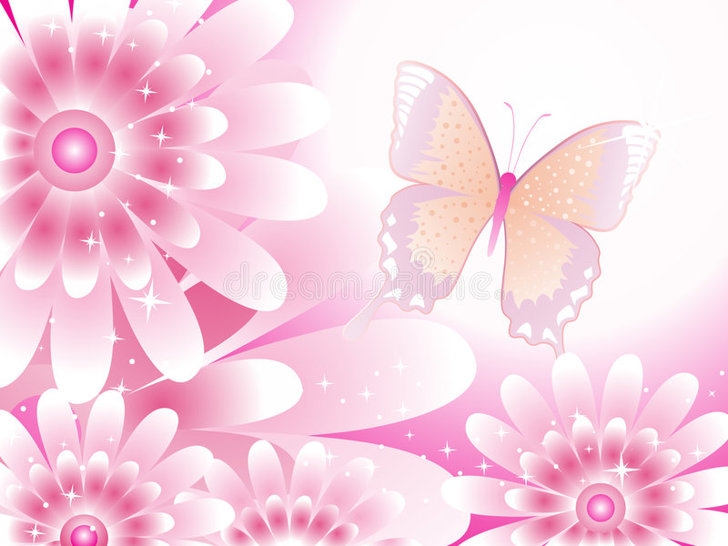 Vector with flowers and butterfly royalty free stock photos