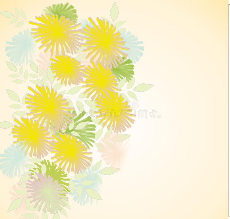 Flowers, dandelions, pale, beautiful, beautiful background for cards and business cards royalty free stock photo