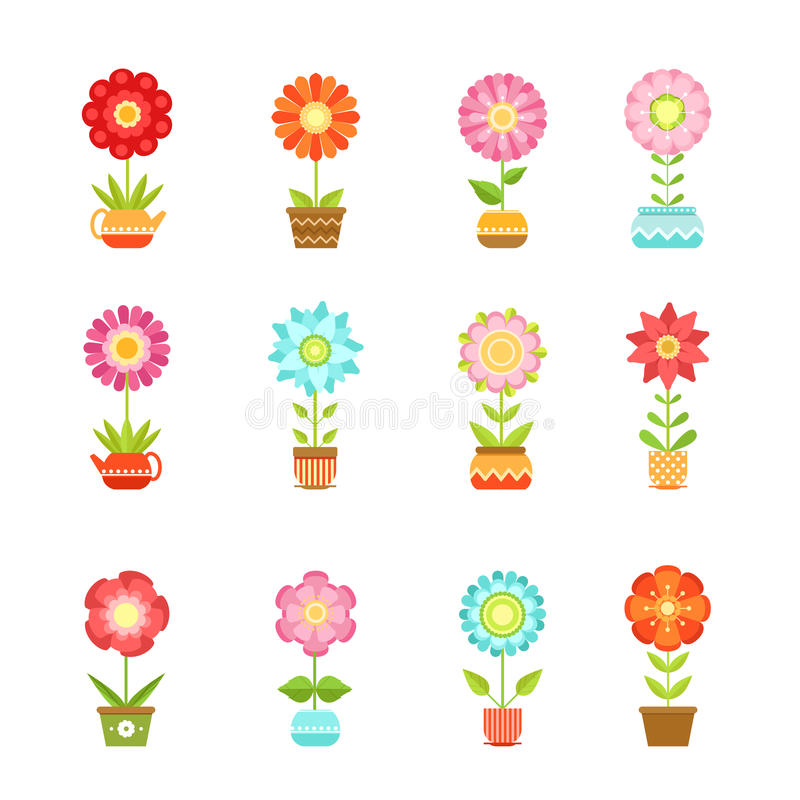 Vector flowers in different pots. Floral set isolate on white background royalty free illustration