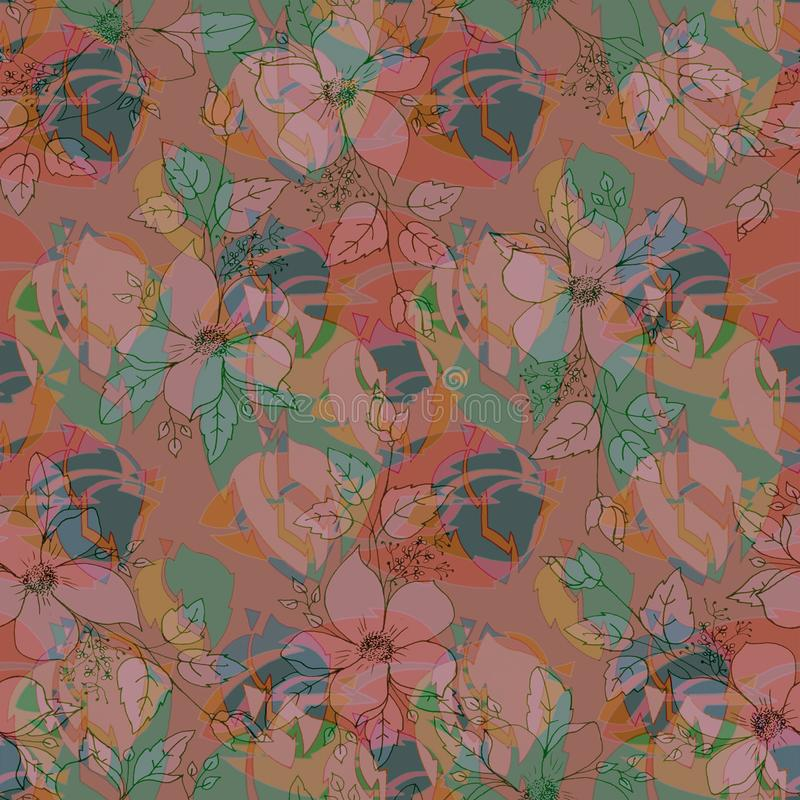 Vector flowers and leaves, pastel colors seamless pattern, plane pink background stock photo
