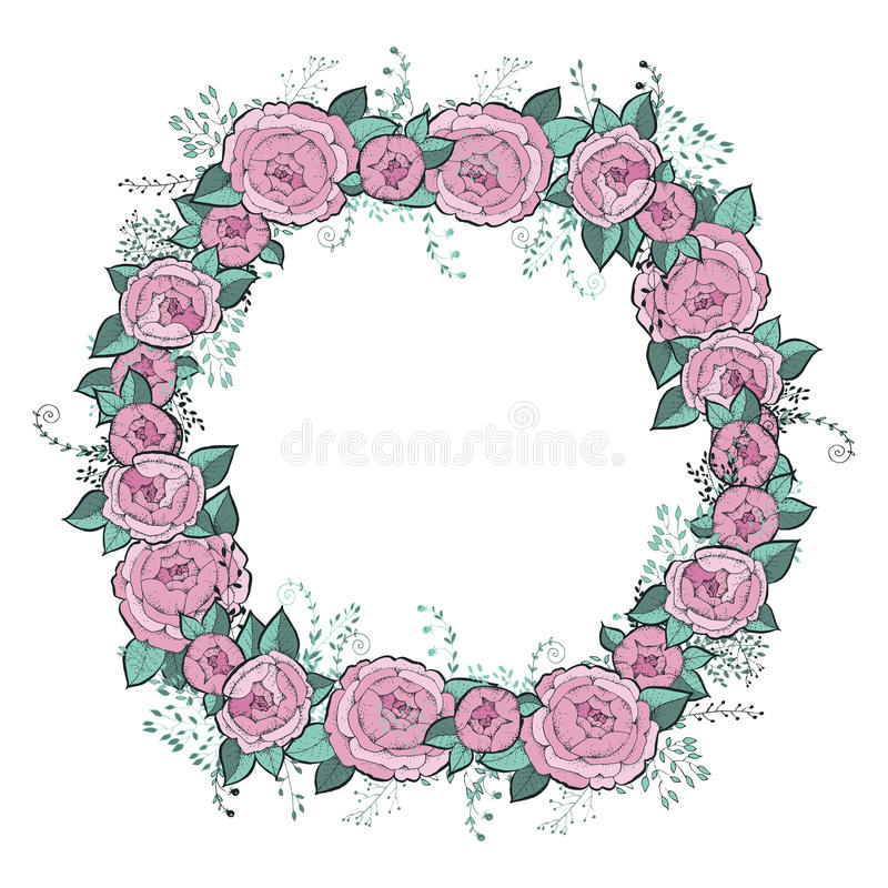 Vector flowers set. Beautiful wreath. Elegant floral collection with isolated blue,pink leaves and flowers, hand drawn. Watercolor. Design for invitation vector illustration