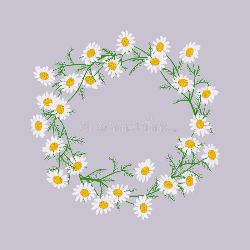 Vector flowers set. Beautiful wreath on purple background. Elegant floral daisy collection. With isolated white, yellow leaves and flowers. Design for vector illustration