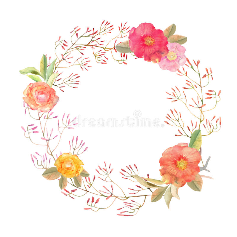 Vector flowers wreath . Elegant floral collection with isolated. Flowers and wild leafs, hand drawn watercolor. Design for invitation, wedding or greeting cards royalty free illustration