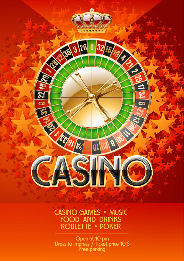 Vector flyer for casino party with orange stars stock illustration
