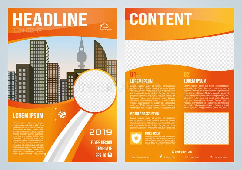 Vector flyer, corporate business, annual report, brochure design and cover presentation with orange wave royalty free illustration
