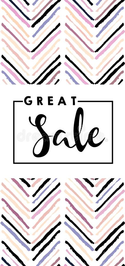 Vector flyer for great sale.Chevron modern brush spot in trendy pastel colors. royalty free illustration