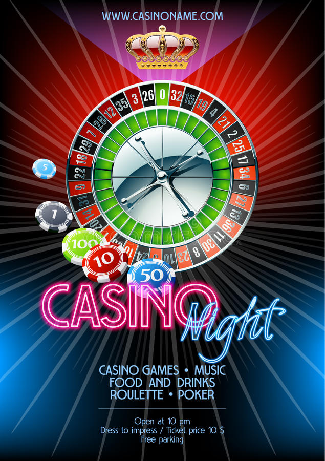 Vector flyer for party night in casino royalty free illustration