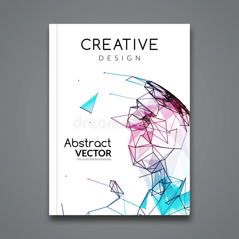 Vector flyer technology connections. Business Brochure template layout. Polygonal colorful style flyer vector illustration