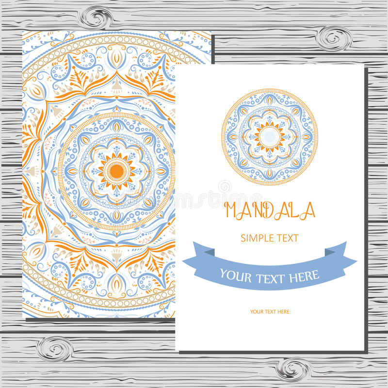 Vector Flyer Template With Hand Drawn Mandala Stock Vector - Save the date flyer template