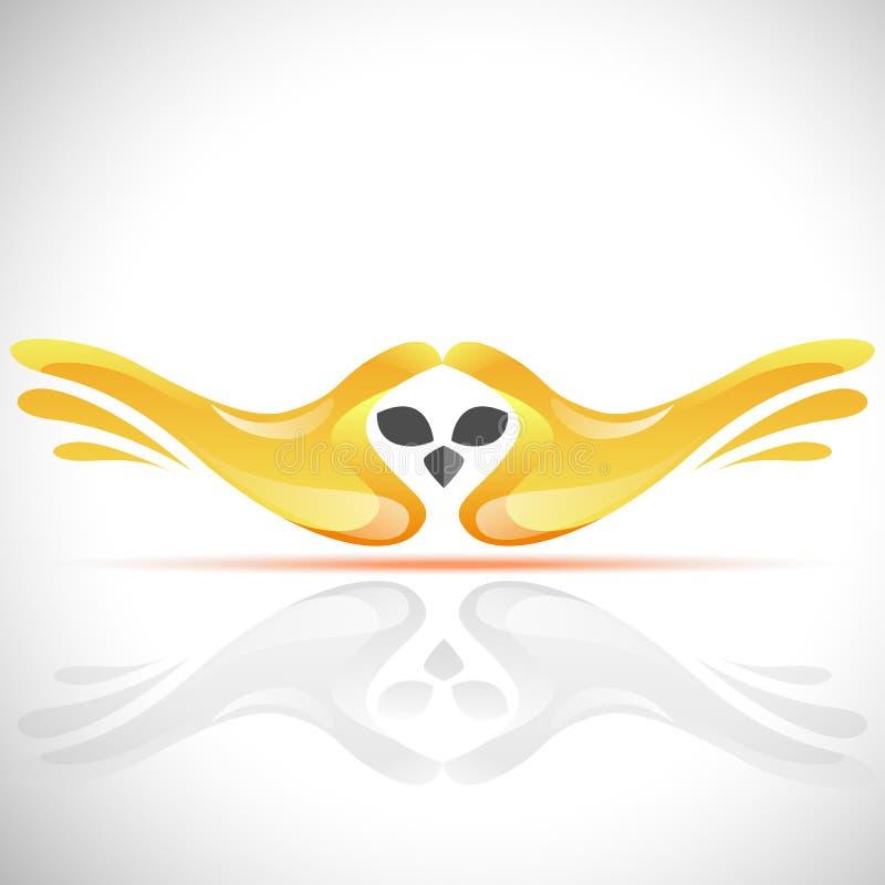 Vector flying bird logo from human`s hands. Stock Owl illustration stock illustration