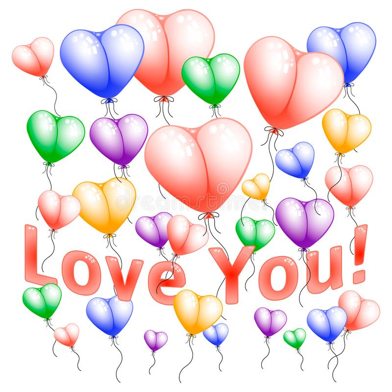 Vector flying colorful heart shape balloons on white background. royalty free illustration