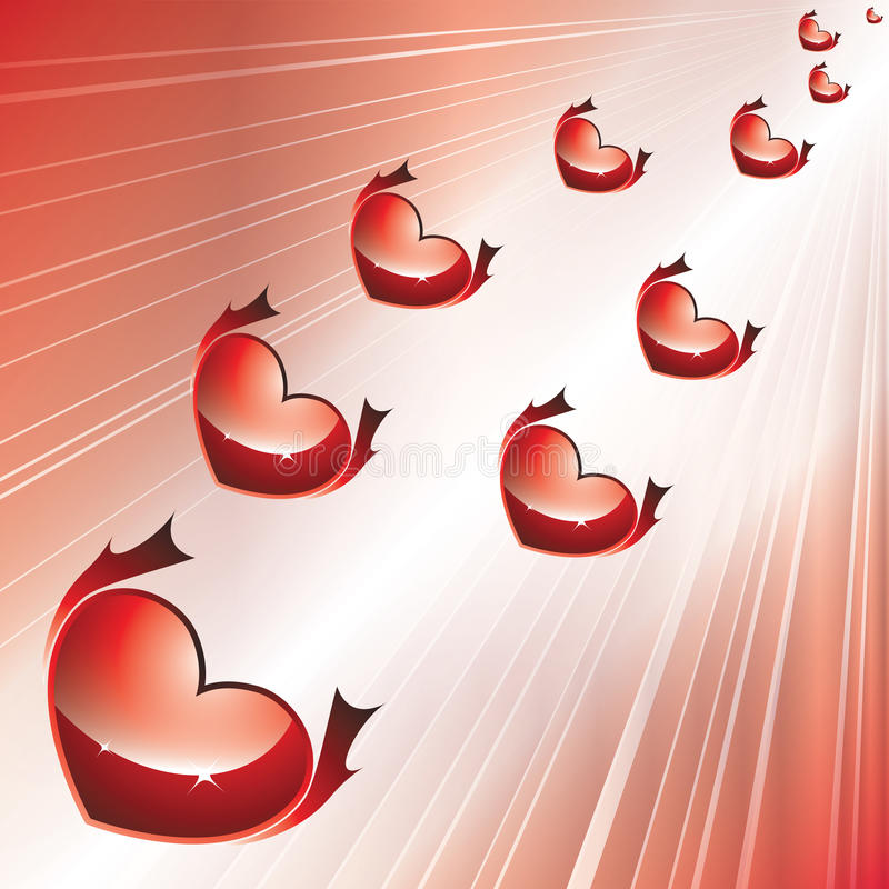 Vector flying red hearts stock photo