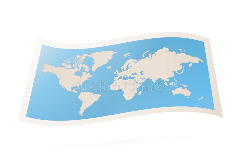 Vector folded world map vector illustration
