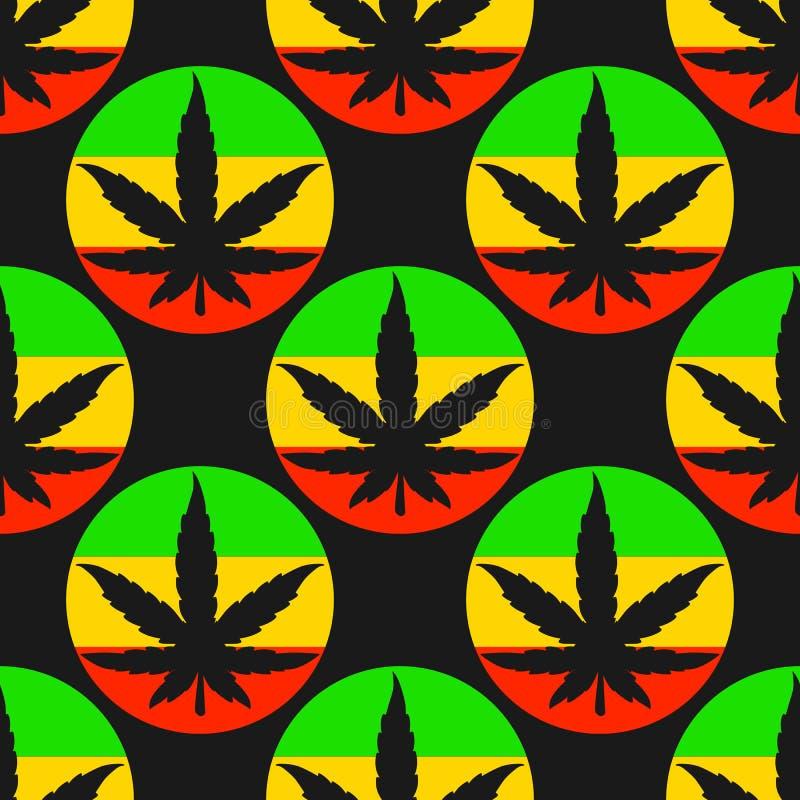 Vector a folha sem emenda da silhueta do teste padrão do cannabis com círculos brilhantes do rasta ilustração stock