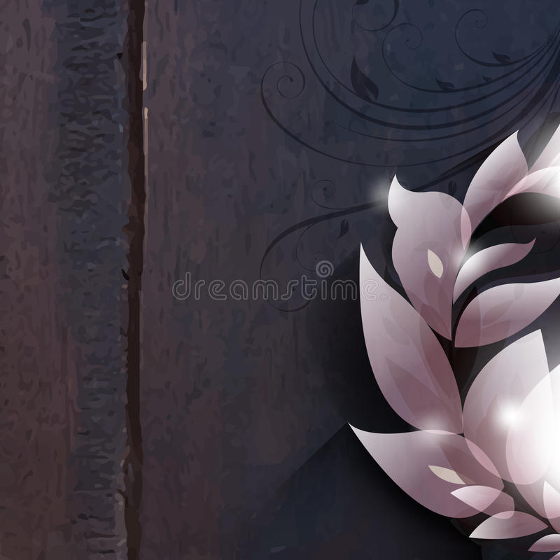 Vector foliage on wood background royalty free illustration