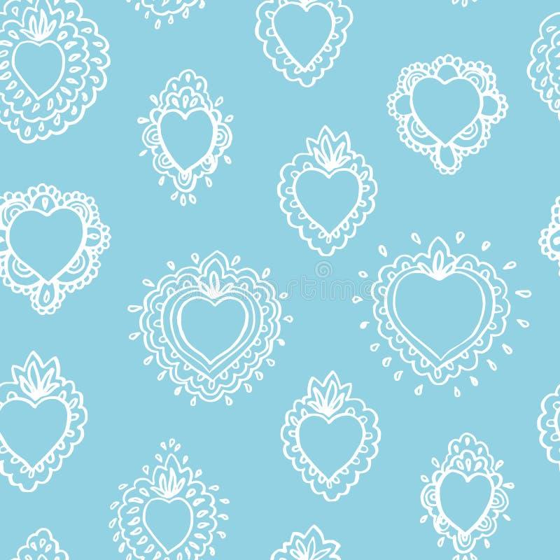 Free Vector Folk Art Burning Heart Pattern. Stock Photos - 160190503