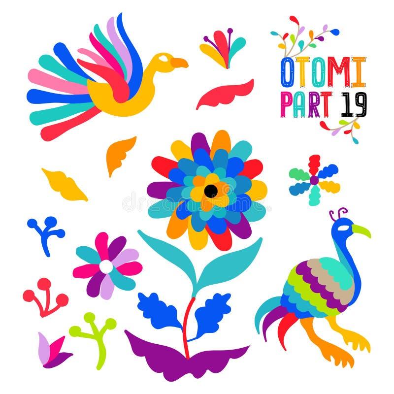 Vector folk Mexican Otomi Style embroidery Pattern set. Folk embroidery ornament elements. Vector folk Mexican Otomi Style embroidery Pattern set. Folk stock illustration