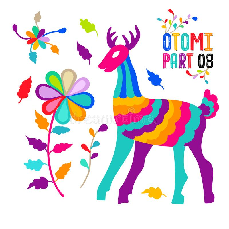 Vector folk Mexican Otomi Style embroidery Pattern set. Folk embroidery ornament elements. Vector folk Mexican Otomi Style embroidery Pattern set. Folk vector illustration