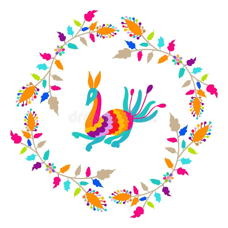 Vector folk Mexican Otomi Style embroidery Pattern vector illustration