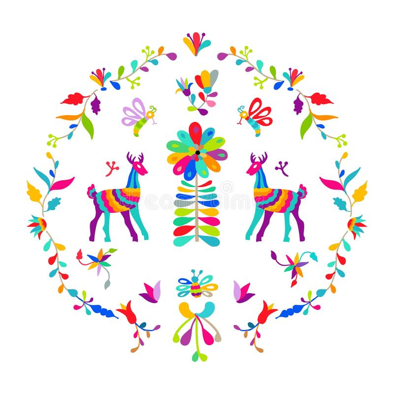 Vector folk Mexican Otomi Style embroidery Pattern set. Folk embroidery ornament elements. Vector folk Mexican Otomi Style embroidery Pattern set. Folk royalty free illustration