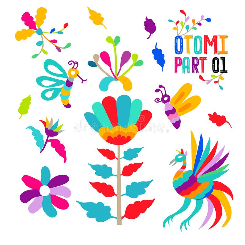 Vector folk Mexican Otomi Style embroidery Pattern set. Folk embroidery ornament elements. Eps 10 stock illustration