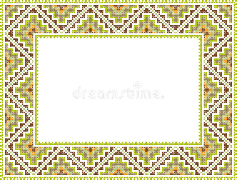 Download Vector Folk Rectangular Frame Cross-stitch Stock Vector - Image: 19204674
