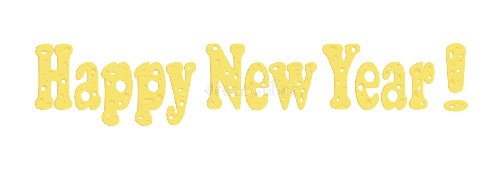 Vector font of cheese. Text: Happy New Year! Themes of the new 2020 year. Dedicated to the rat year. 2020 vision, 2020 year, cheese font, cheese type, font vector illustration