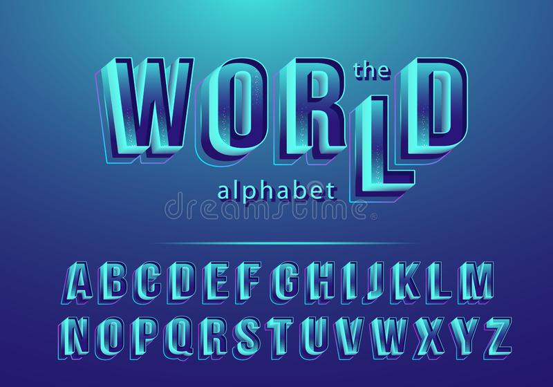 Vector font of modern abstract and creative 3D alphabet vector illustration