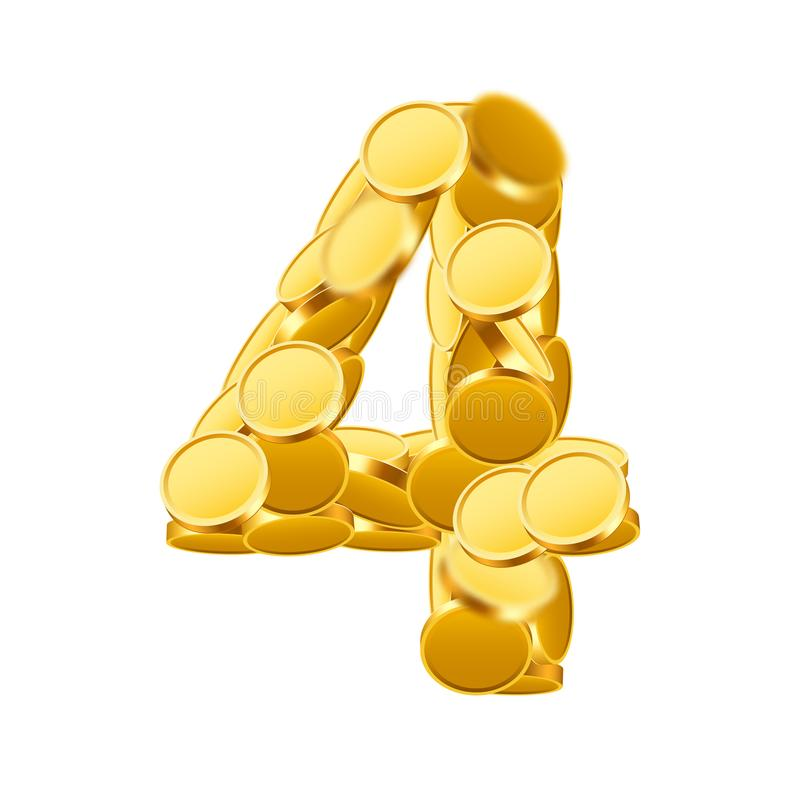 Free Vector Font Style Made Of Golden Coins. Coin Numbers. Number 4. Four. Stock Photo - 101774180