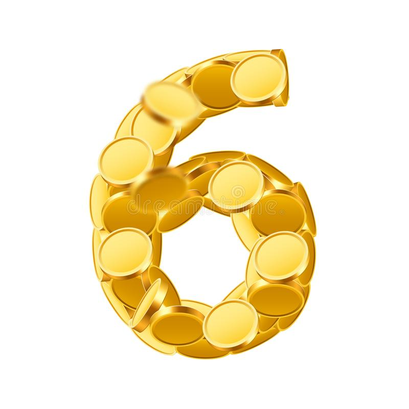 Free Vector Font Style Made Of Golden Coins. Coin Numbers. Number 6. Six. Stock Photo - 101774160