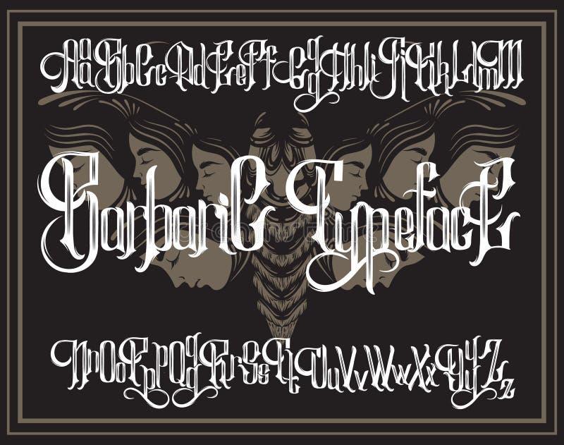 Vector fonte gótico escrita à mão para a rotulação original com ilustração tirada mão da traça surreal com rostos humanos ilustração royalty free