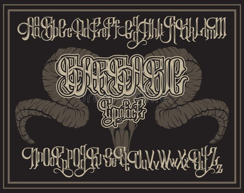 Vector fonte gótico escrita à mão para a rotulação original com ilustração tirada mão do crânio da ram ilustração royalty free