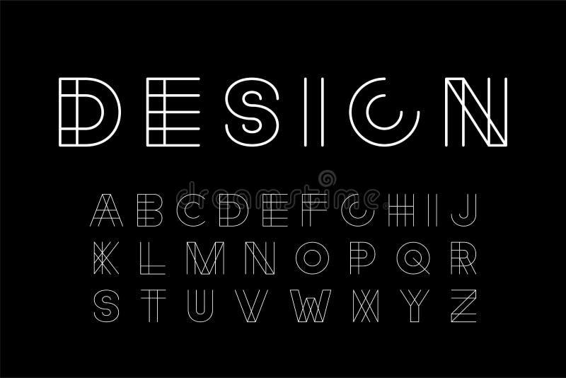 Vector a fonte moderna do desenhista - projeto criativo minimalistic Alfabeto inglês na moda - letras latin brancas ilustração do vetor
