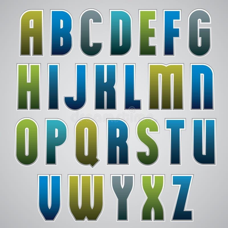 Vector a fonte retro do alfabeto, a corajosa e condensada no cartaz retro s ilustração royalty free
