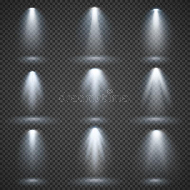 Vector fontes luminosas, iluminação do concerto, projetores da fase ajustados ilustração stock
