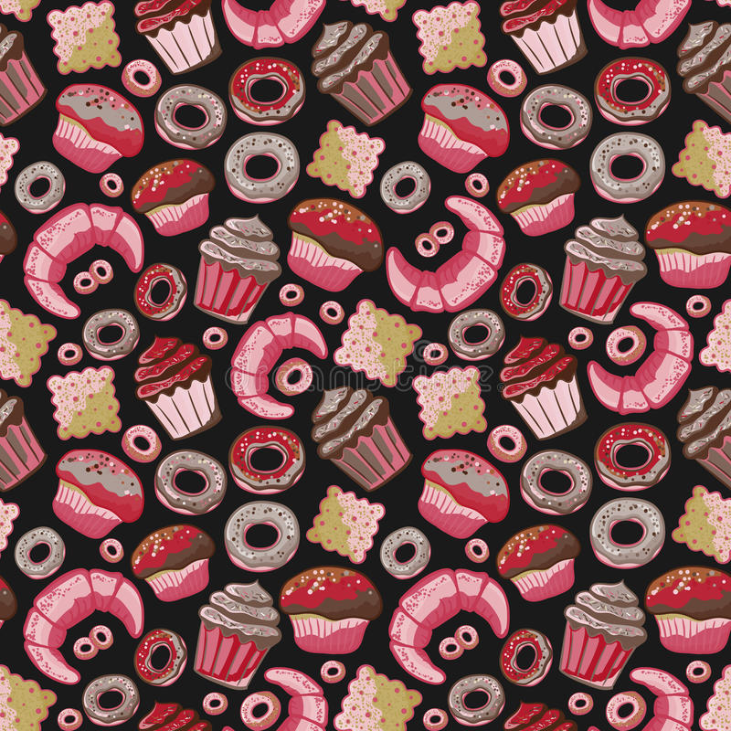 Vector food bakery seamless pattern with baked goods. Flour products from pastry shop. Illustration for print, web. Original design element stock illustration