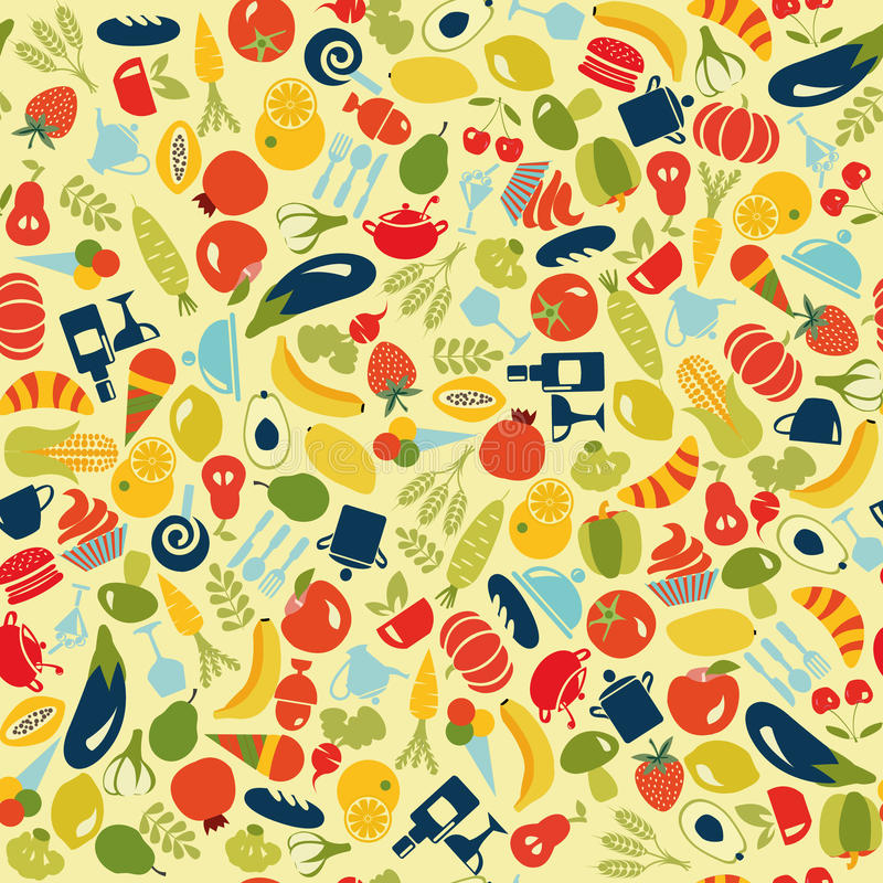 Vector food and beverages seamless background vector illustration
