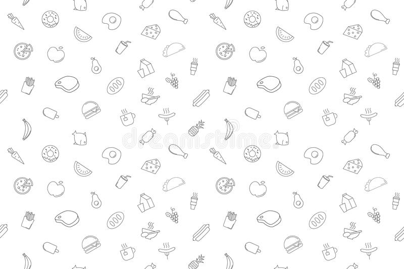 Vector Food and drink pattern. stock illustration