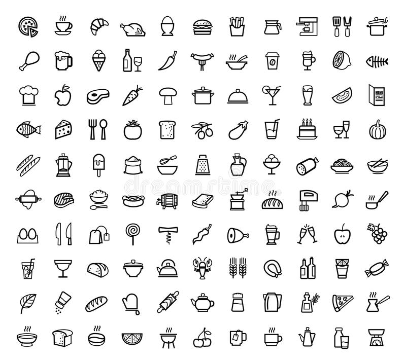 Vector food icons set vector illustration