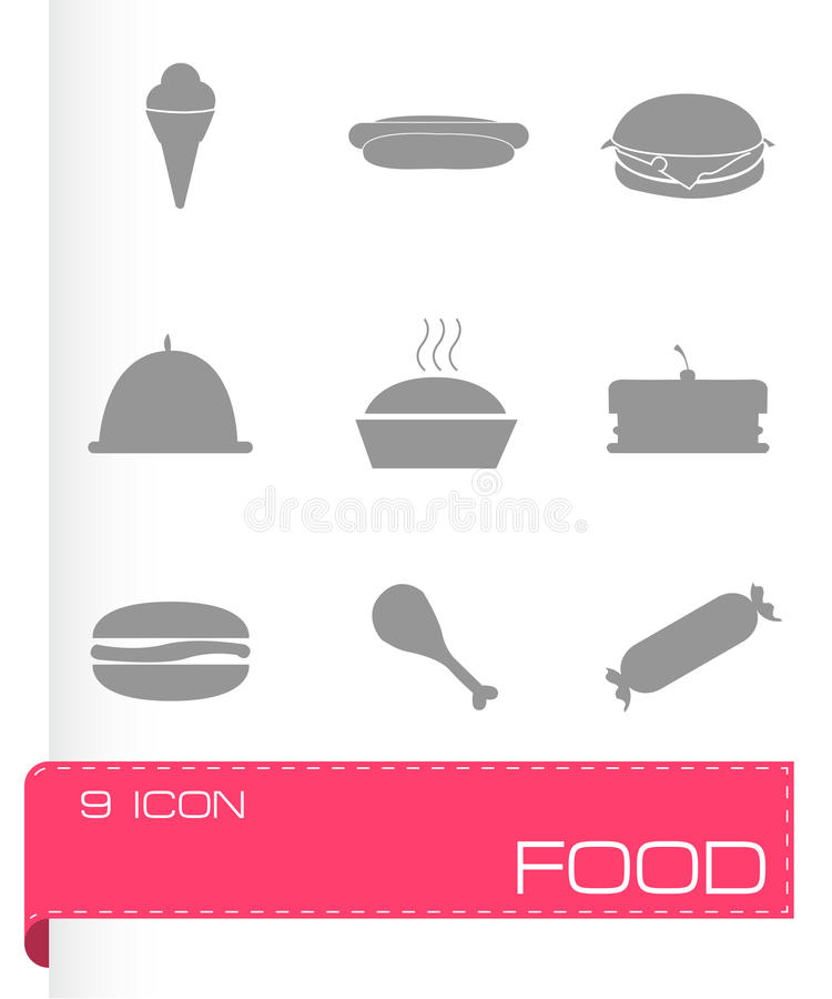 Vector food icons set. On grey background royalty free illustration
