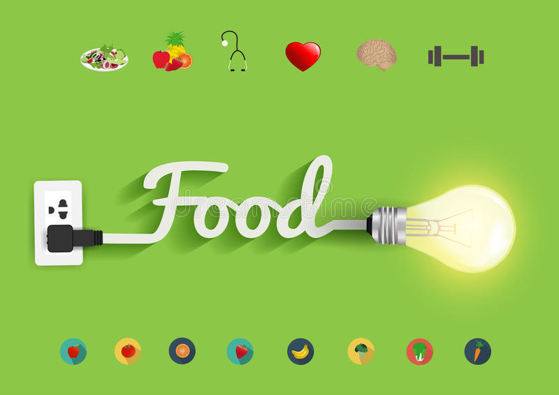 Vector food ideas concept creative light bulb design. Food ideas concept, Creative light bulb design abstract infographic layout, diagram, step up options royalty free illustration