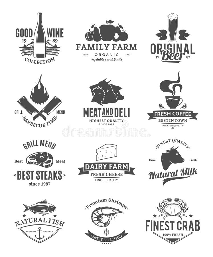 Vector food logo collection vector illustration