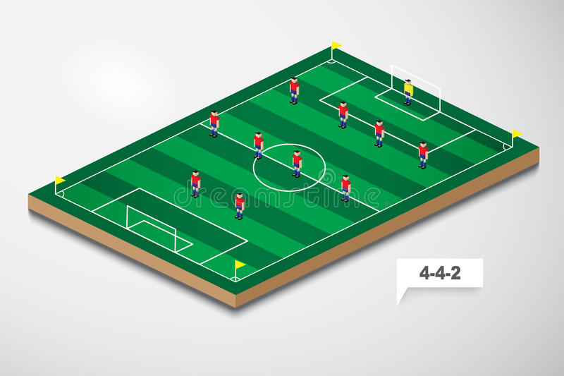Vector of football formation tactic 4-4-2. Illustrator EPS10 stock illustration